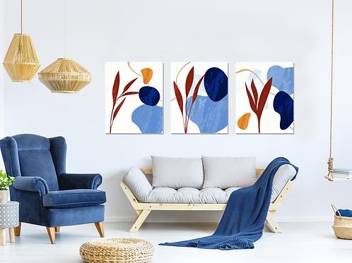 Abstracto carmin y azul