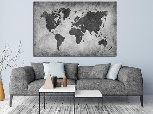 Mapa mundi blanco y negro