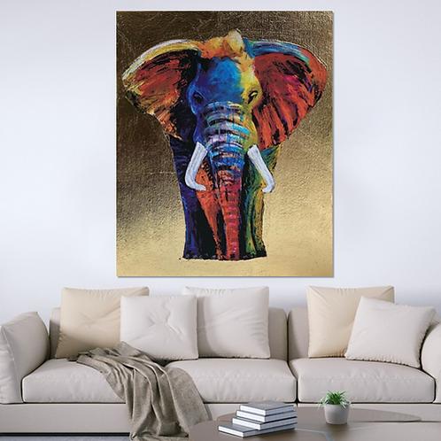 Elefante con hoja de oro