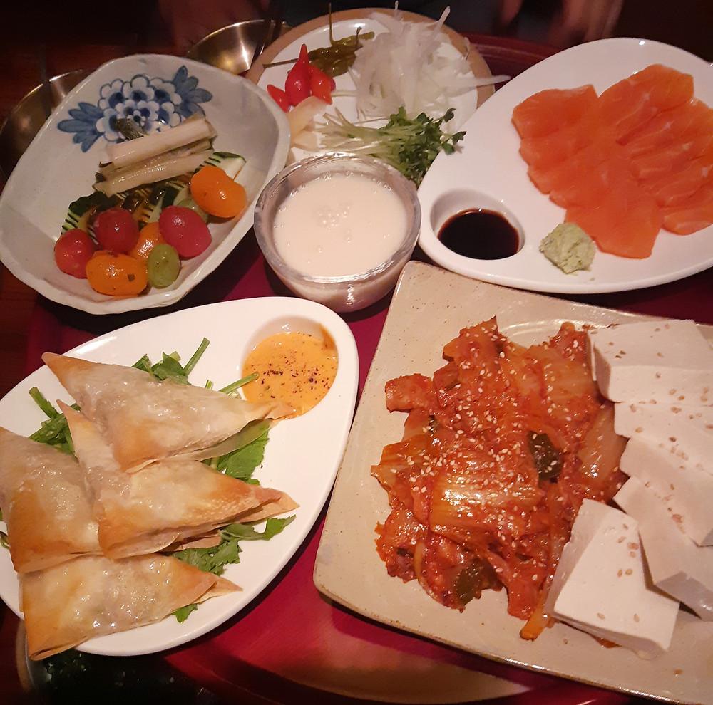 The side dishes and food at Sanullim 1992 Hongdae Seoul