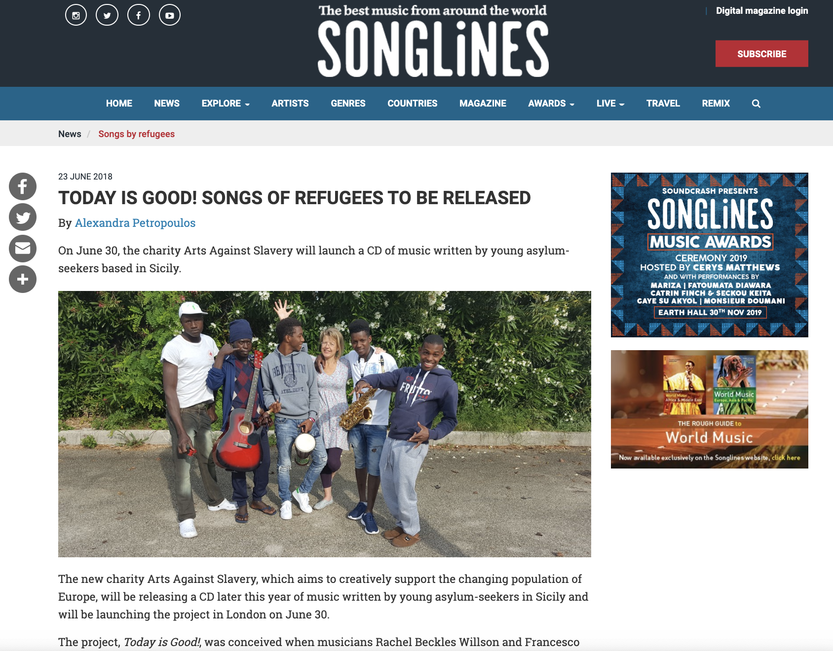 Songlines article