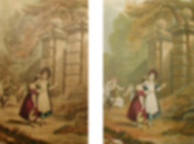 Girls outside the gates of a mansion - a fake and a genuine baxter print
