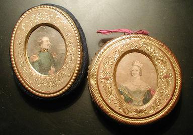 Geoge Baxter needle box prints on Victorian Pin Cushions