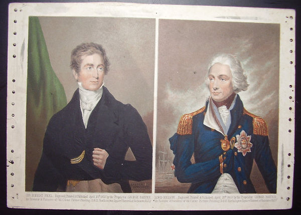 Sir Robert Peel and Lord Nelson - both fake Baxter Prints - reproductions from George Baxter's plates
