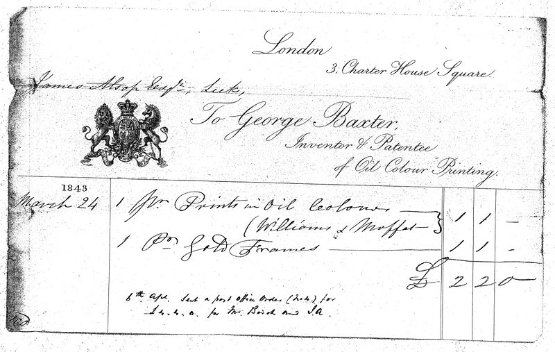 George Baxter Sales Receipt dated 1843