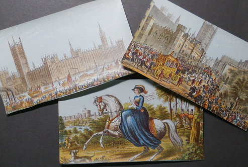 Queen Victoria at Windsor - Opening of Parliament  - New Houses of Parliament - Le Blond  - Baxter Prints