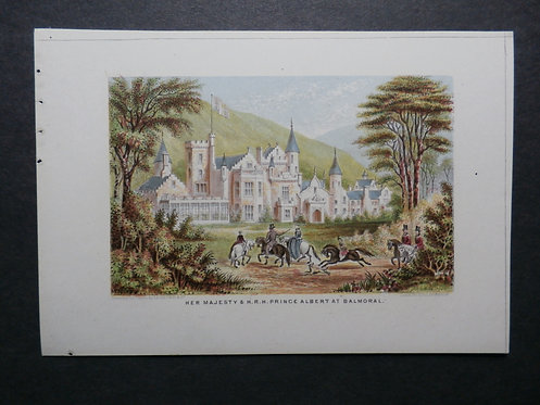 Her Majesty and His Royal Highness Prince Albert at Balmoral - Queen Victoria - Le Blond - George Baxter print