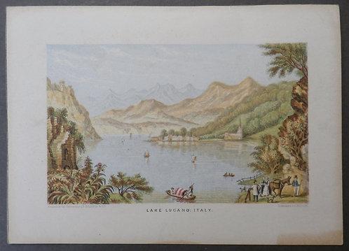 Lake Lugano, Italy - Le Blond Print - George Baxter Process