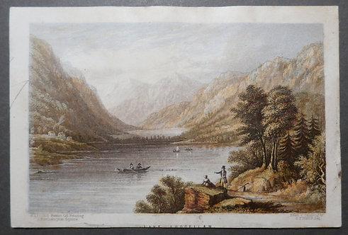 Lake Luggellaw (Lough Tay) Wicklow - George Baxter Print