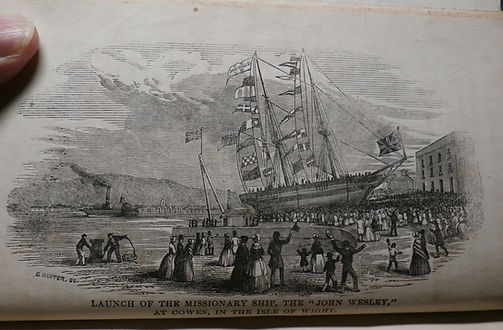 The Launch of the missionary ship John Wesley at Cowes Isle of Wight by George Baxter