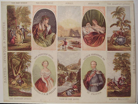 The May Queen set a rare genuine Baxter Print  - set of needle box prints