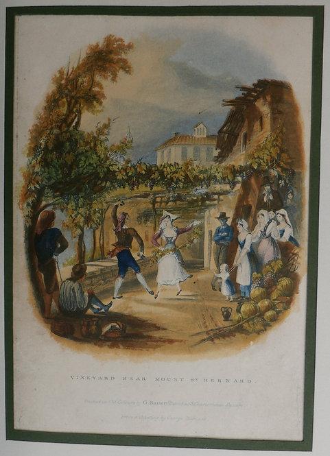 Vineyard near Mount St. Bernard - George Baxter Print
