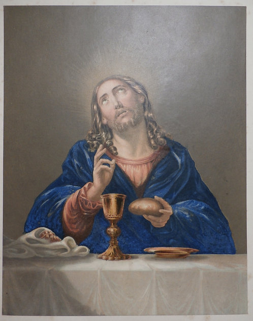 The Saviour blessing the bread - George Baxter Print