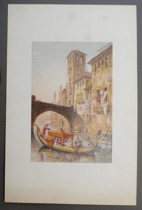 Verona (Evening scene) - George Baxter Print