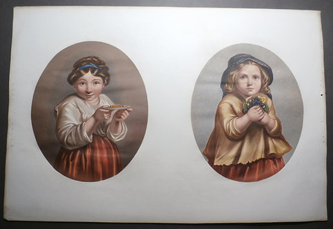 Girl with Tart AND My Pretty Flowers - J M Kronheim - George Baxter Prints