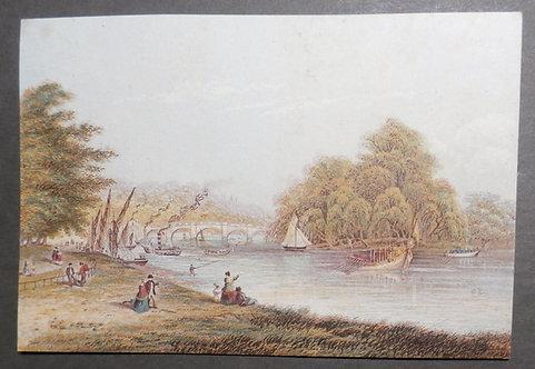 Richmond Bridge London River Thames - George Baxter Print