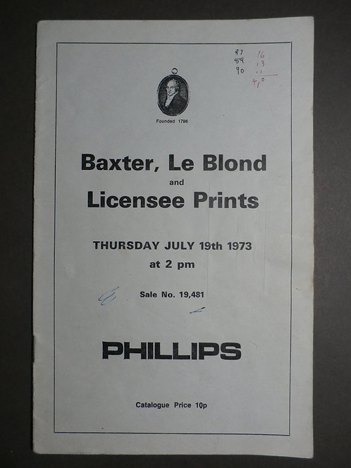 Phillips Auction Catalogue 1973 – Baxter & Le Blond Prints