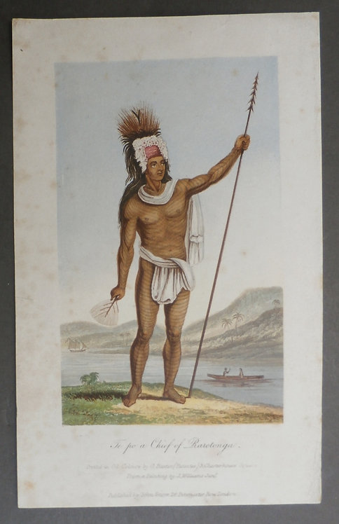 Te Po, a Chief of Rarotonga - George Baxter Print - Williams Missionary Enterprises