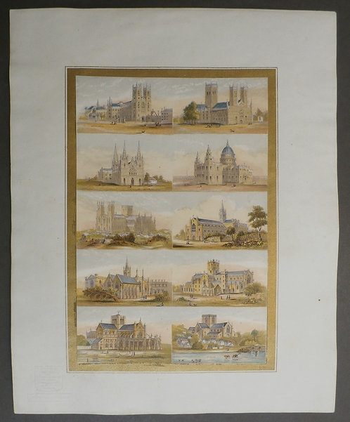 Bradshaw & Blacklock Cathedrals in England George Baxter Process prints