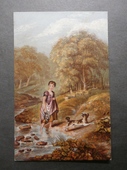 Crossing the Brook - George Baxter Print