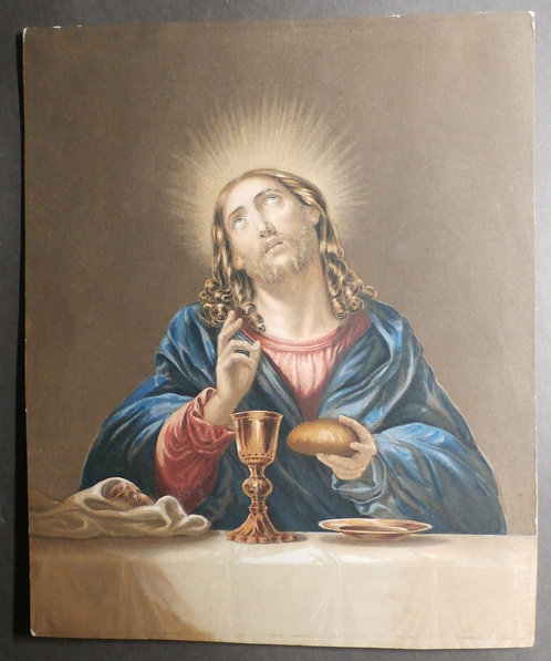 Christ Blessing the Bread (with Nimbus) - George Baxter Print