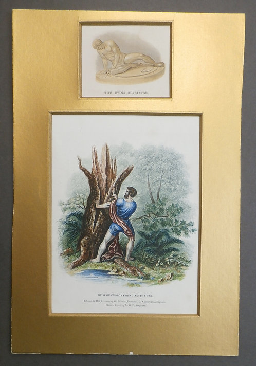 Milo of Crotona rending the Oak AND 'The Dying Gladiator - Baxter Prints - Physical Man Mudie