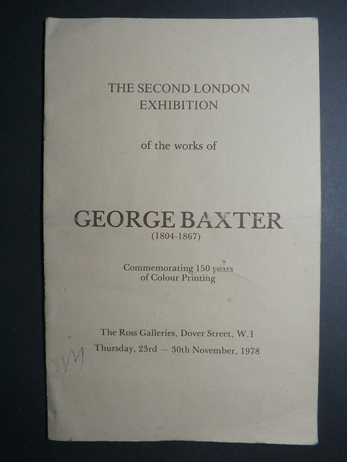 Catalogue 2nd London Exhibition 1978 - George baxter prints
