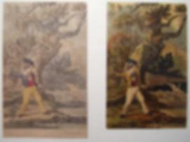 Boys Throwing Stones at Ducks both fake Baxter Prints