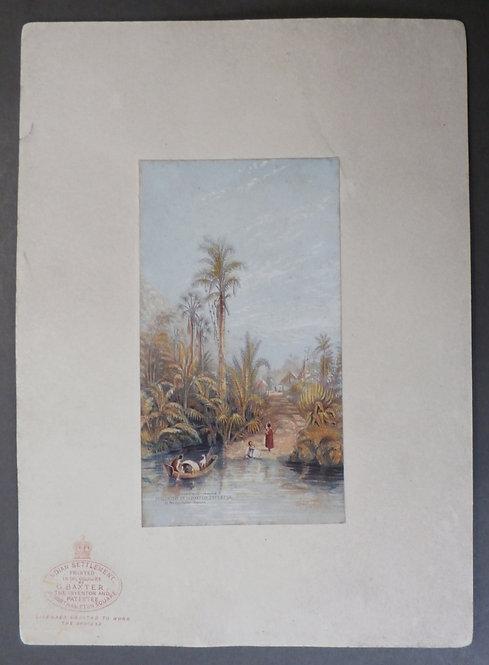 Indian Settlement  - George Baxter print