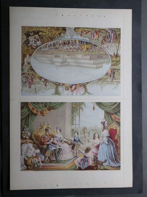 The Royal Family at Buckingham Palace AND The Crystal Palace 1851 - Le Blond - Baxter Print