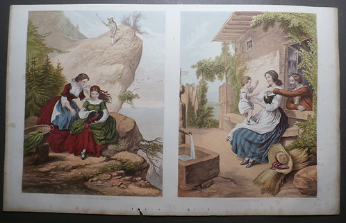 The Rest on the Mountain & The Spoilt Child - J M Kronheim - Baxter Print