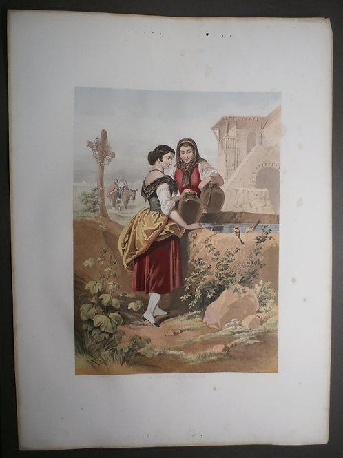 The Meeting at the Fountain - J M Kronheim & Co - Baxter print