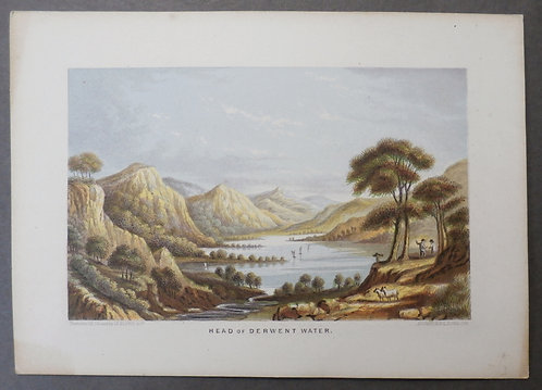 Head of Derwent Water - Le Blond print - George Baxter Process