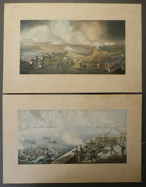 Charge of the British Troops on the road to Windlesham  - George baxter prints - Crimean War
