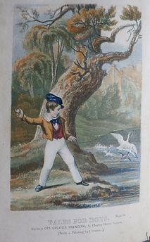 Boys throwing stones at ducks a rare genuine Baxter Print