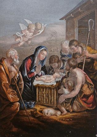 Birth of the saviour  - George Baxter Print