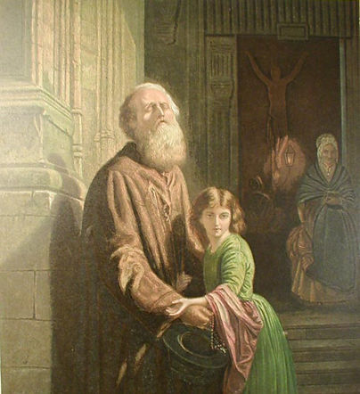 The Blind Beggar by William Dickes (W Dickes) from his Studies of the Great Masters