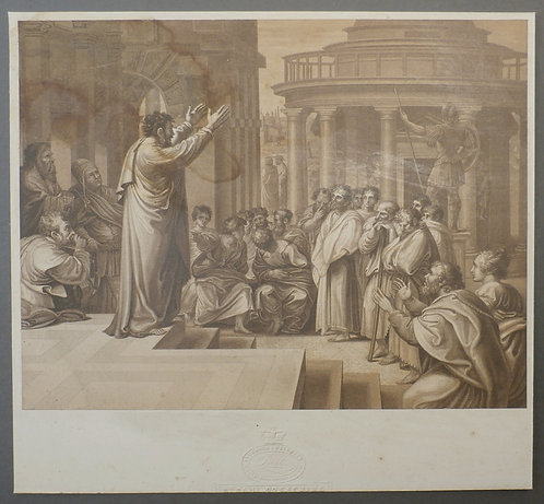 St. Paul preaching at Athens  - George Baxter Print