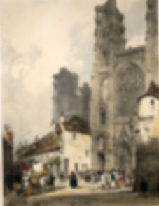Thomas Shotter Boys, 'Laon Cathedral, from Picturesque architecture in Paris, Ghent, Antwep, Rouen, &c