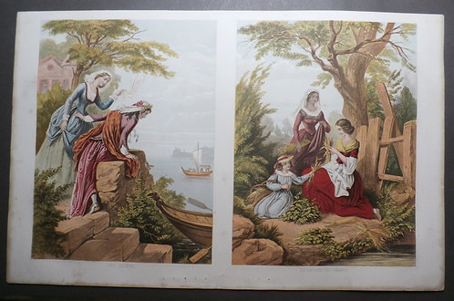 The Farewell AND The Return from the Fields - J M Kronheim - Baxter Print