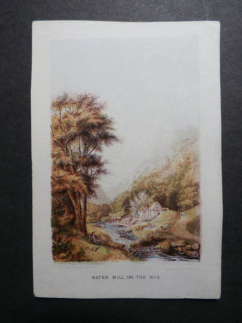 """Watermill on the Wye - George Baxter print - Suttaby's """"Le Souvenir, 1850"""" and """"Sovereign Pocket Book for 1850"""" and """"Pharoah"""