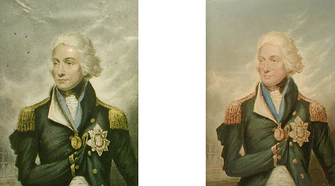 Admiral Nelson a common fake and a genuine Baxter Print