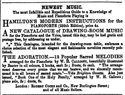 Below - Cocks & Co advertising The Adoration '12 Popular Sacred Melodies' in Bents Literary Advertiser Dec 12 1859