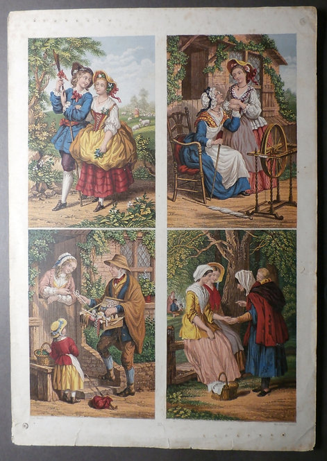 Joseph Mansell - George Baxter Prints - The Courting Sheppard, The Pedlar, The Spinning Wheel and The Fortune Teller.
