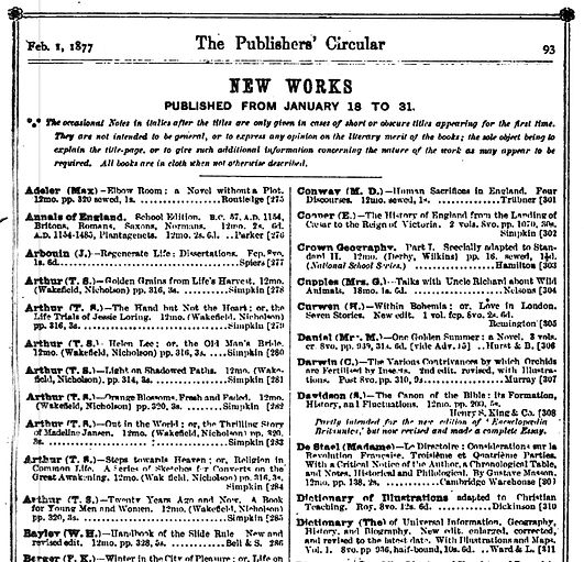 The Publishers Circle  Feb 1877 - Kronheim - T S Arthur