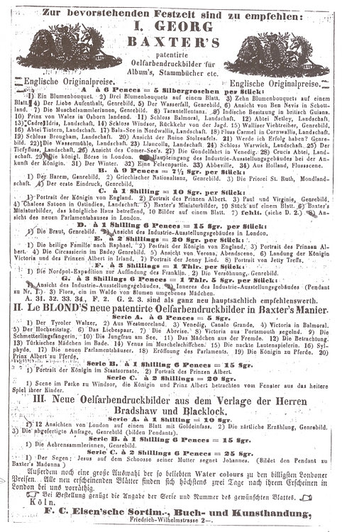 F C Eisen advertising George Baxter Print 1851