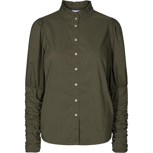 Co´Couture Sandy Poplin Puff Shirt Army