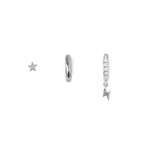 Orelia London Øredobber Star & Lightening Ear Party Silver
