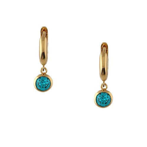 Orelia London Øredobber Swarovski Blue Zircon Drop Huggie Hoops