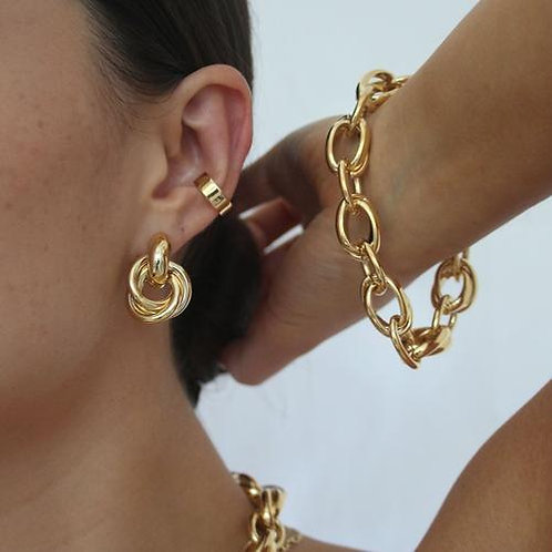 Orelia London Chunky Plain Ear Cuff Gold
